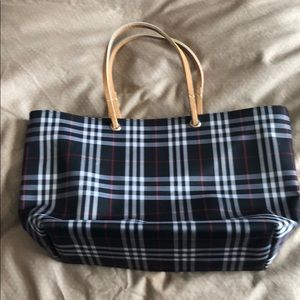 Burberry canvas bag with leather handles